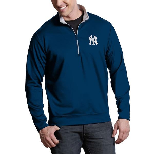 アンティグア メンズ ジャケット&ブルゾン アウター New York Yankees Antigua Leader Quarter-Zip Pullover Jacket Navy -