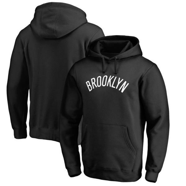 ファナティクス メンズ パーカー・スウェットシャツ アウター Brooklyn Nets Fanatics Branded Wordmark Pullover Hoodie Black