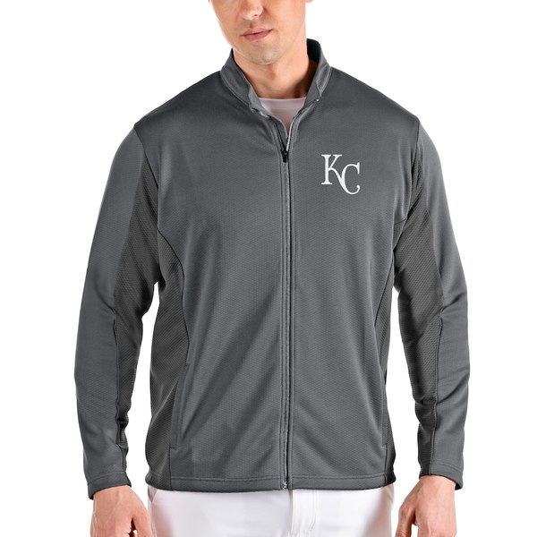 アンティグア メンズ ジャケット&ブルゾン アウター Kansas City Royals Antigua Passage Full-Zip Jacket Gray