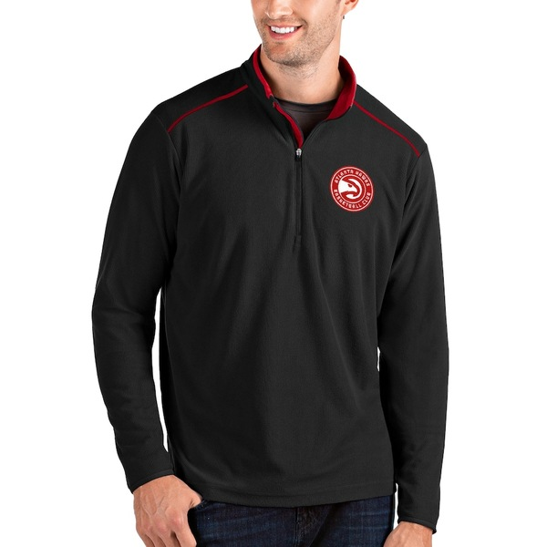 アンティグア メンズ ジャケット&ブルゾン アウター Atlanta Hawks Antigua Big & Tall Glacier Quarter-Zip Pullover Jacket Black/Red