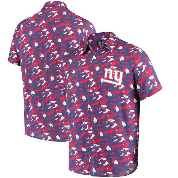 フォコ メンズ シャツ トップス New York Giants NFLxFIT Quicksnap Woven Shirt Royal/Red