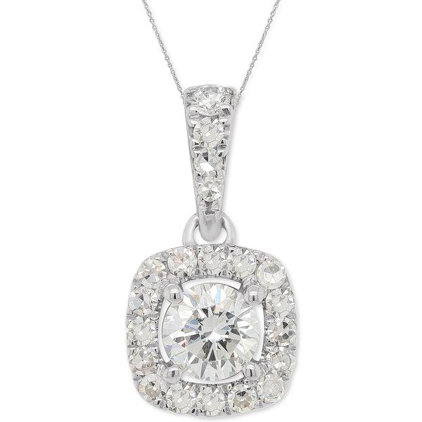 フォーエバー グロウン ダイヤモンズ レディース ネックレス・チョーカー・ペンダントトップ アクセサリー Lab-Created Diamond Halo Pendant Necklace (1/3 ct. t.w.) in Sterling Silver, 18