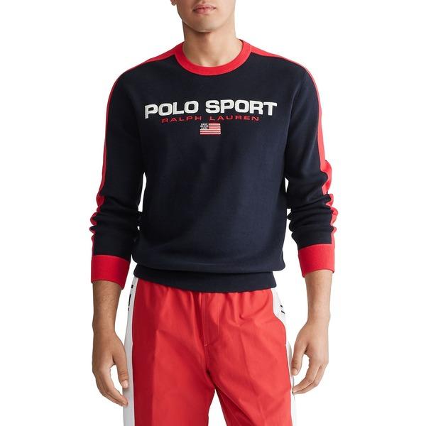 ラルフローレン メンズ ニット&セーター アウター Logo Cotton Sweater Navy Red