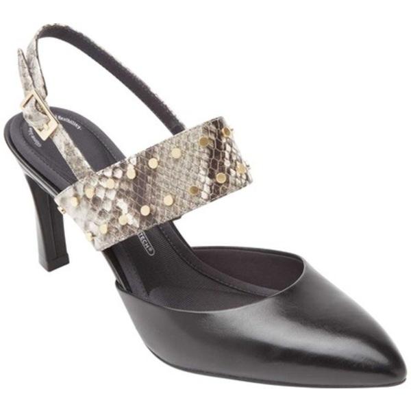 ロックポート レディース サンダル シューズ Total Motion Sheehan Slingback Heel Black Leather