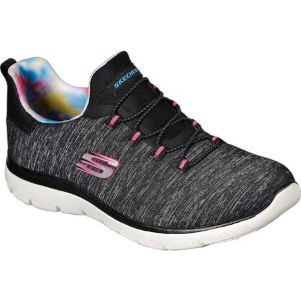 スケッチャーズ レディース スニーカー シューズ Summits Rainbow Swirl Sneaker Black/Hot Pink