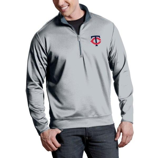 アンティグア メンズ ジャケット&ブルゾン アウター Minnesota Twins Antigua Leader Quarter-Zip Pullover Jacket Silver