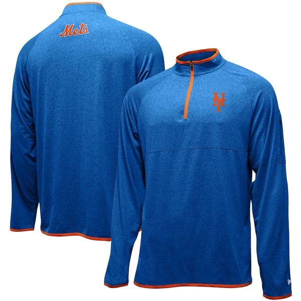 ニューエラ メンズ ジャケット&ブルゾン アウター New York Mets New Era Brushed Jersey Raglan Quarter-Zip Pullover Jacket Royal