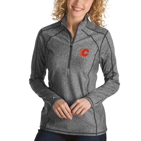アンティグア レディース ジャケット&ブルゾン アウター Calgary Flames Antigua Women's Tempo Desert Dry 1/2-Zip Pullover Jacket Charcoal