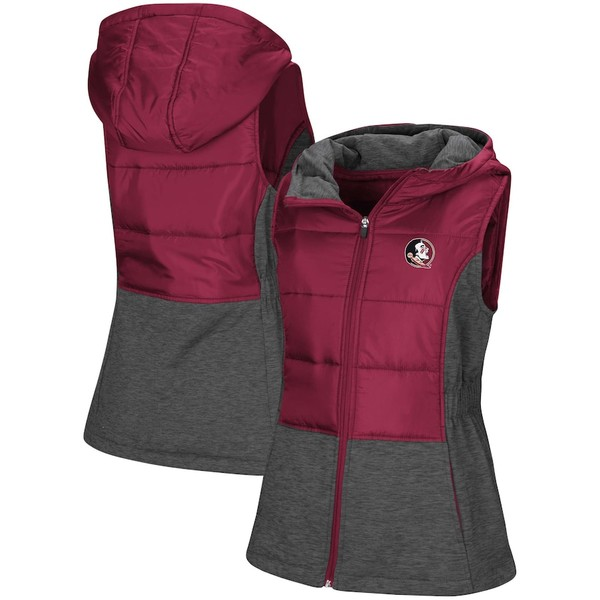 コロシアム レディース ジャケット&ブルゾン アウター Florida State Seminoles Colosseum Women's Ray Quilted Full Zip Vest Garnet