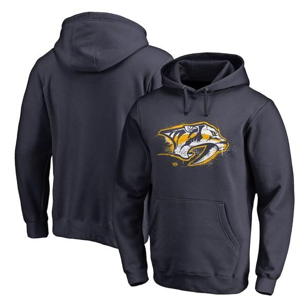 ファナティクス メンズ パーカー・スウェットシャツ アウター Nashville Predators Fanatics Branded Splatter Logo Pullover Hoodie Navy