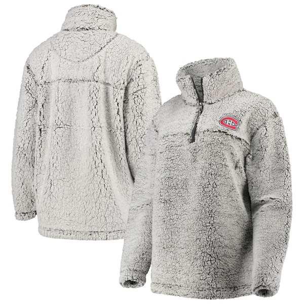 カールバンクス レディース ジャケット&ブルゾン アウター Montreal Canadiens G-III 4Her by Carl Banks Women's Sherpa Quarter-Zip Pullover Jacket Gray