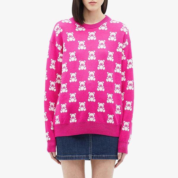 モスキーノ レディース ニット&セーター アウター All Over Teddy Bear Sweater Pink