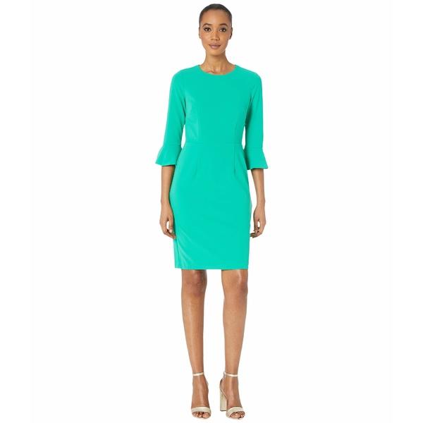 ドナモーガン レディース トップス ワンピース Bright Jade 全商品無料サイズ交換 ドナモーガン レディース ワンピース トップス 3/4 Sleeve Crepe Sheath Dress with Bell Sleeve Bright Jade