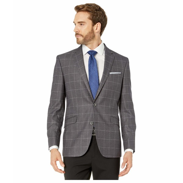 ケネスコール メンズ コート アウター Grey Windowpane Stretch Blazer Grey Windowpane