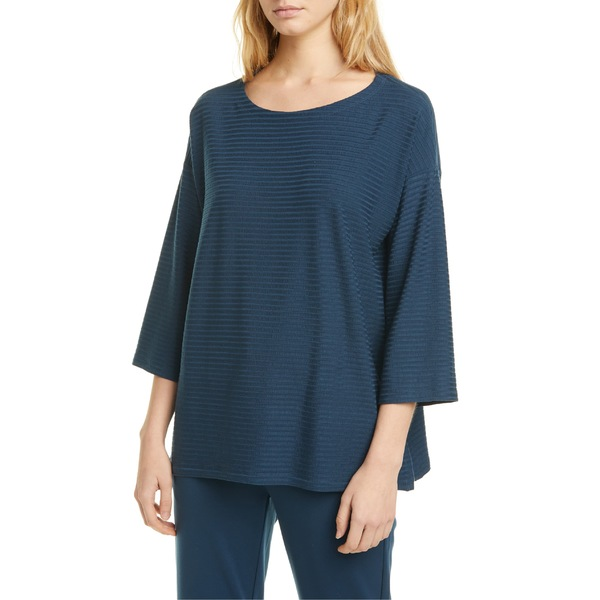 black size M NEW Eileen Fisher Boxy Silk Blend Top