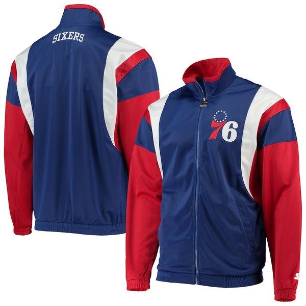 スターター メンズ ジャケット&ブルゾン アウター Philadelphia 76ers Starter The Contender Tricot Full-Zip Track Jacket Royal/Red