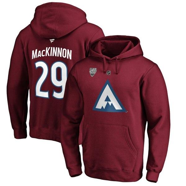 ファナティクス メンズ パーカー・スウェットシャツ アウター Nathan MacKinnon Colorado Avalanche Fanatics Branded 2020 Stadium Series Name & Number Pullover Hoodie Blue/Burgundy