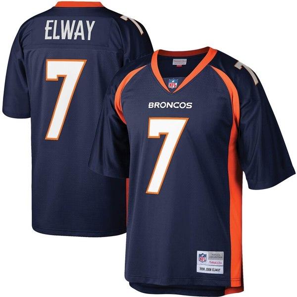 ミッチェル&ネス メンズ シャツ トップス John Elway Denver Broncos Mitchell & Ness Legacy Replica Jersey Navy
