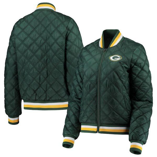 カールバンクス レディース ジャケット&ブルゾン アウター Green Bay Packers G-III 4Her by Carl Banks Women's Goal Line Quilted Bomber Full-Zip Jacket Green