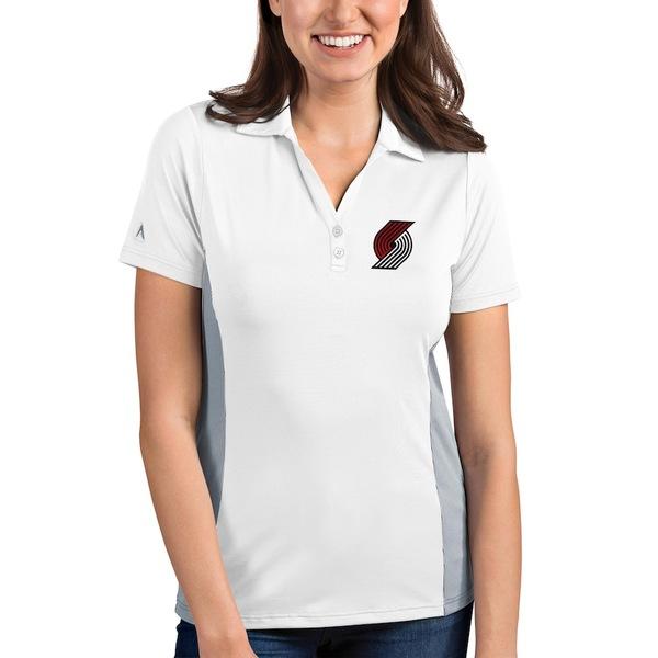 アンティグア レディース ポロシャツ トップス Portland Trail Blazers Antigua Women's Venture Polo White/Gray