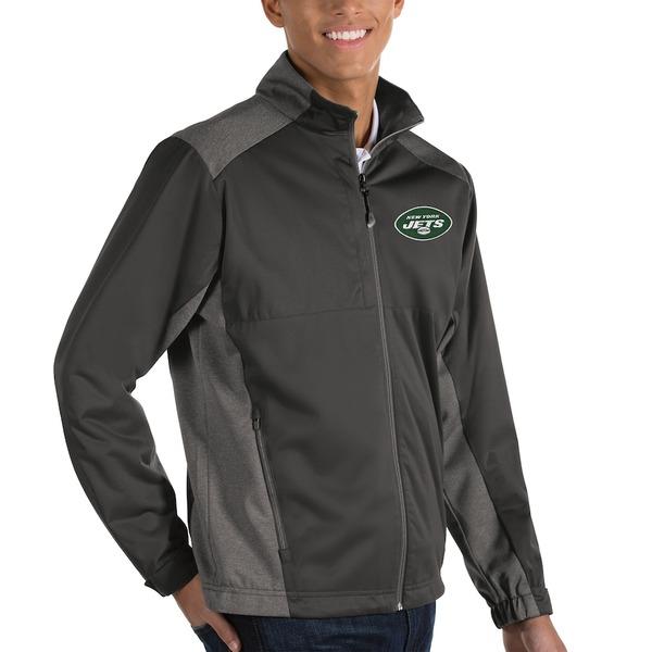 アンティグア メンズ ジャケット&ブルゾン アウター New York Jets Antigua Revolve Full-Zip Jacket Charcoal/Heather Charcoal