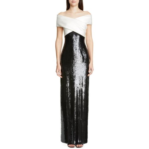 セント ジョン コレクション レディース ワンピース トップス Layered Sequin Silk Georgette Gown Cream/ Caviar