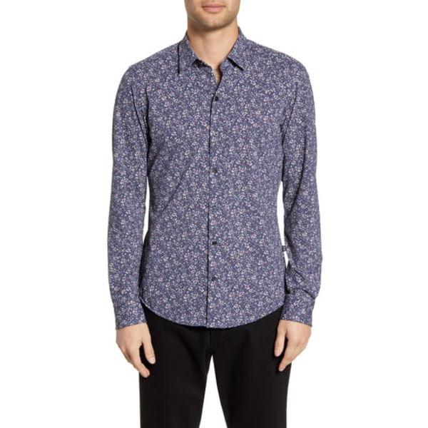 ボス メンズ シャツ トップス Robbie Sharp Fit Floral Print Stretch Button-Up Sport Shirt Multi