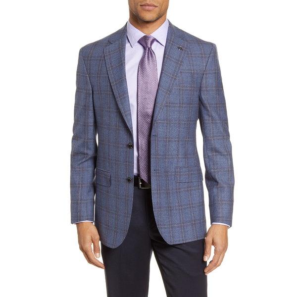 テッドベーカー メンズ ジャケット&ブルゾン アウター Jay Trim Fit Plaid Wool Sport Coat Blue