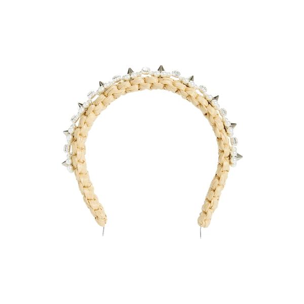 シモーネ・ロシャ レディース ヘアアクセサリー アクセサリー Embellished Woven Raffia Headband Tan/ Pearl/ Clear