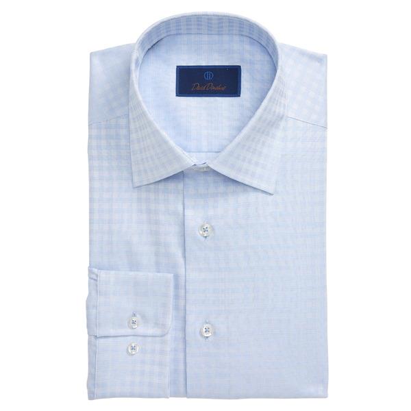 デイビッドドナヒュー メンズ シャツ トップス Regular Fit Plaid Dress Shirt Sky