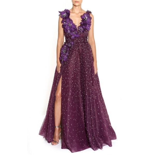 マルケッサ レディース ワンピース トップス Floral Embellished A-Line Organza Gown Amethyst
