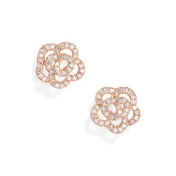 エフコレクション レディース ピアス&イヤリング アクセサリー Rose Diamond Stud Earrings Rose Gold