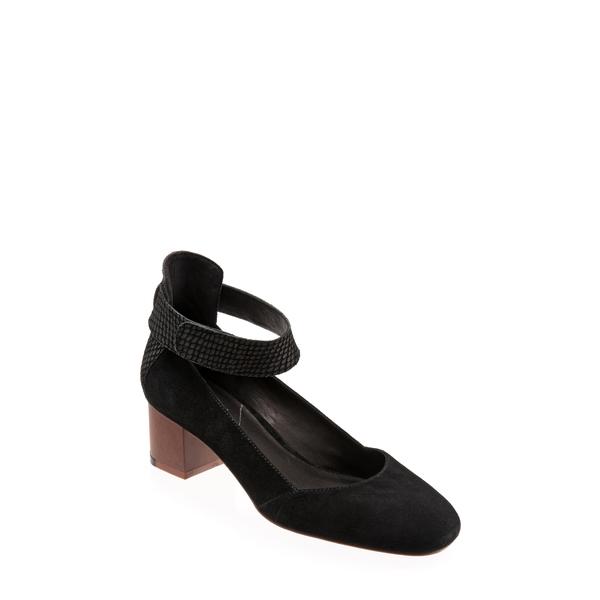 セーブ レディース パンプス シューズ Emiko Ankle Strap Pump Black Leather