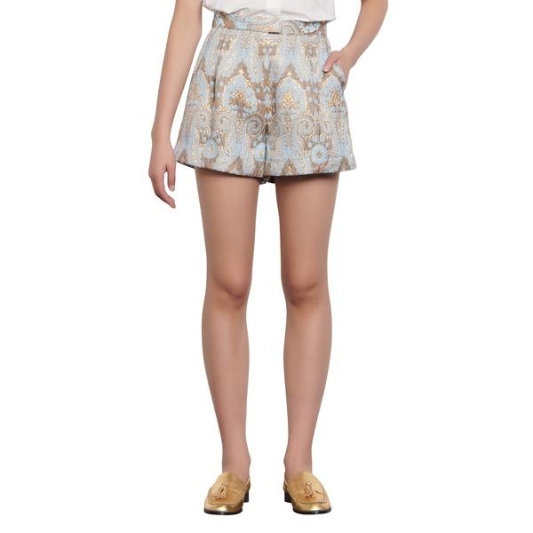 サンドロ レディース カジュアルパンツ ボトムス Ori Metallic Jacquard Shorts Gold / Blue