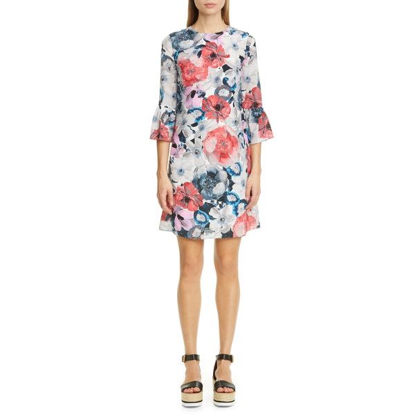 アーデム レディース ワンピース トップス Floral Silk Shift Dress White/ Pink