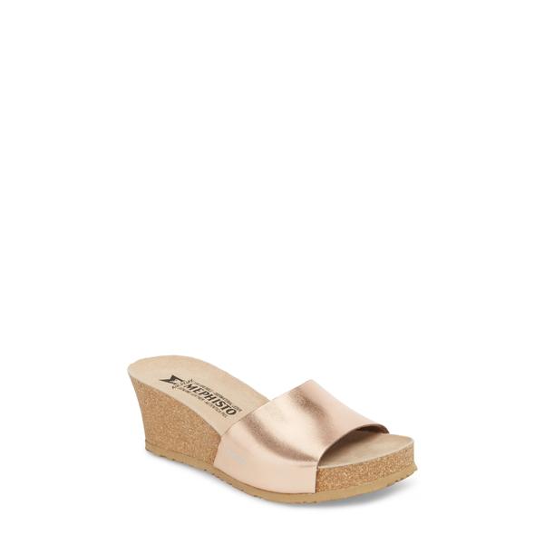 メフィスト レディース サンダル シューズ Lise Platform Wedge Sandal Rose Gold Star Leather
