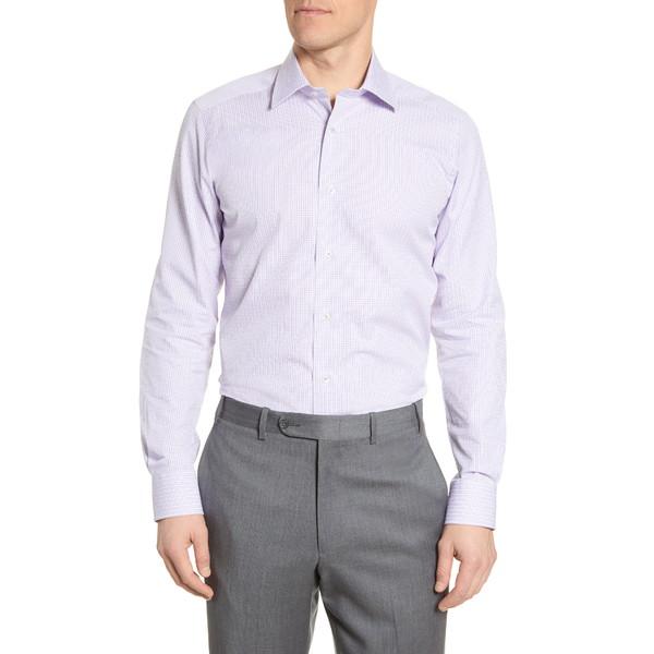 デイビッドドナヒュー メンズ シャツ トップス Trim Fit Plaid Dress Shirt White/Berry