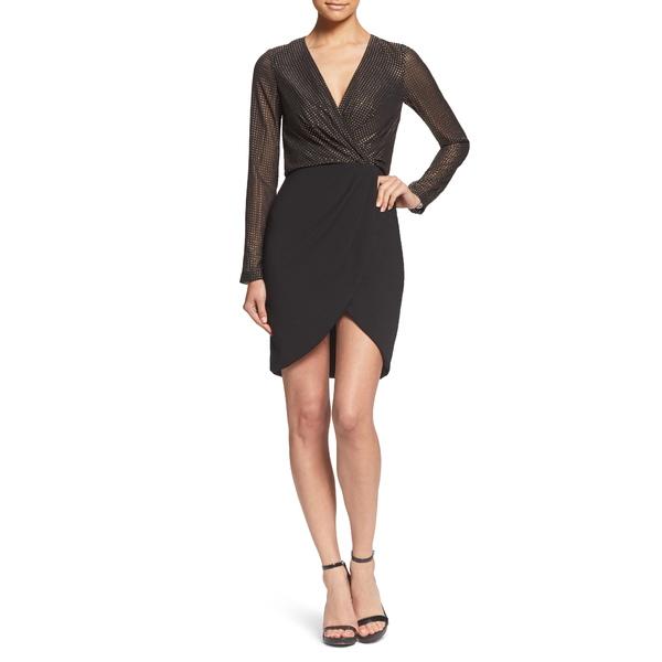 ドレスザポプレーション レディース ワンピース トップス Miranda Studded Bodice Faux Wrap Cocktail Dress Black/ Gold