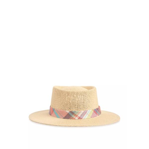 クラウン&アイビー メンズ 帽子 アクセサリー Straw Fedora with Madras Band -