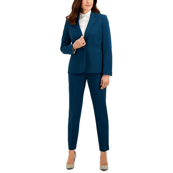 スーツ カジュアルパンツ Viridian Petite Pantsuit レディース Blue Crepe ボトムス Stretch ル