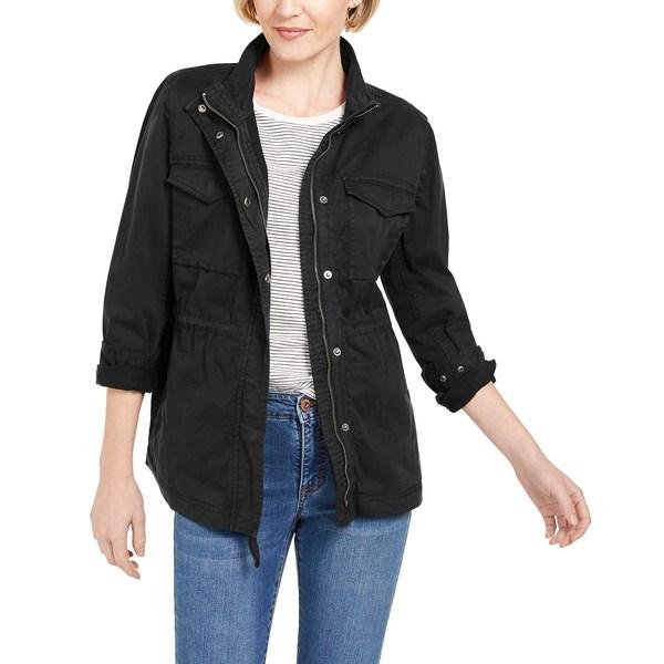 スタイルアンドコー レディース アウター ジャケット ブルゾン 年間定番 Deep Black 全商品無料サイズ交換 Cotton for Created 返品交換不可 Macy's Utility Petite Jacket