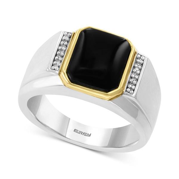 エフィー コレクション メンズ アクセサリー リング Silver 全商品無料サイズ交換 EFFY® Men's Onyx in Sterling 9mm Diamond 期間限定特別価格 Accent Gold Ring 日本製 14k x 11