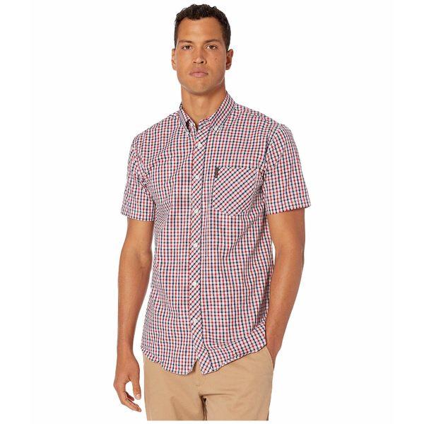 ベンシャーマン メンズ シャツ トップス Short Sleeve Multi Mini Check Shirt Red