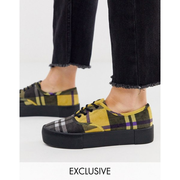 モンキ レディース スニーカー シューズ Monki check print platform plimsolls in yellow Yellow