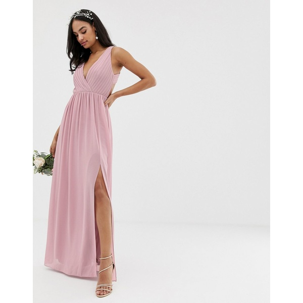 ティエフエヌシー レディース ワンピース トップス TFNC bridesmaid exclusive pleated maxi dress with back detail in pink Pink