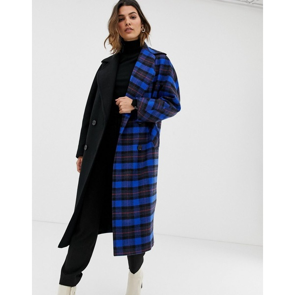 ヘレンベーマン レディース コート アウター Helene Berman contrast check duster coat Blue check