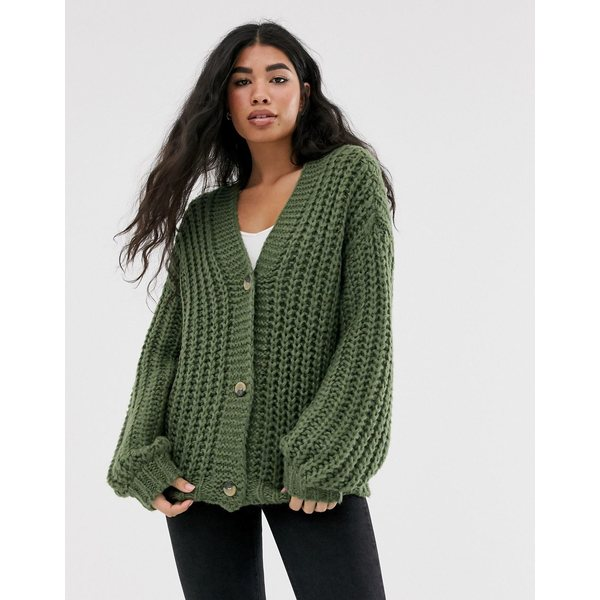 ノイジーメイ レディース カーディガン アウター Noisy May chunky ribbed button front v neck cardigan Green