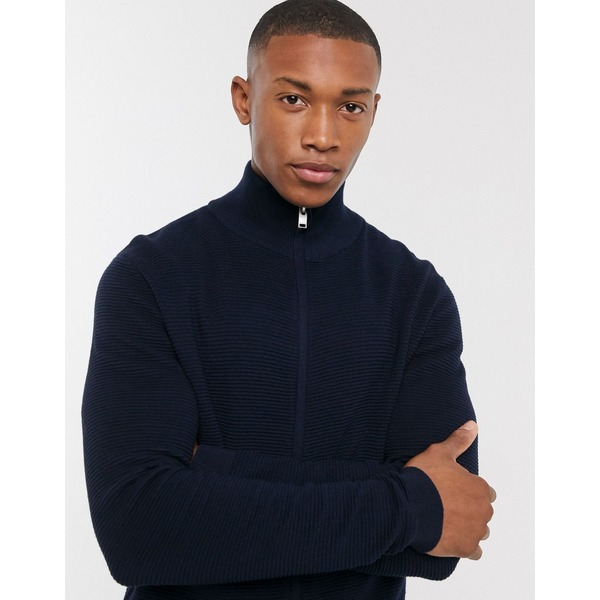 セレクテッドオム メンズ カーディガン アウター Selected Homme organic cotton ribbed knitted zip through cardigan in navy Maritime blue