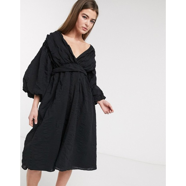ロストインク レディース ワンピース トップス Lost Ink midi dress with balloon sleeves and full skirt in textured fabric Black