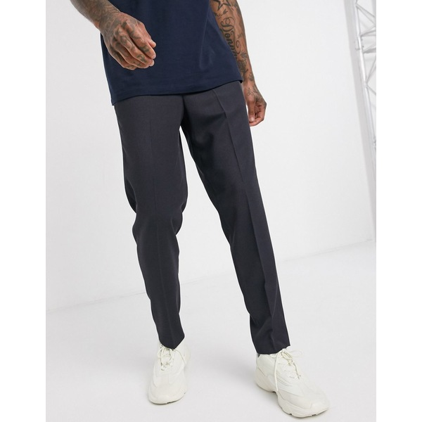 セレクテッドオム メンズ カジュアルパンツ ボトムス Selected Homme slim tapered fit elastic waist twill smart pants in navy Navy blue